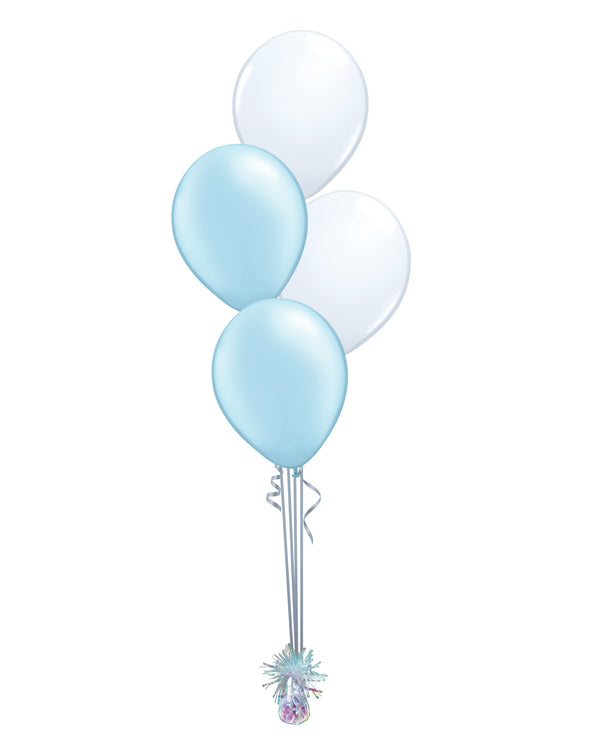 Light Blue Shade - Latex Balloon Bouquet - 4 Balloons
