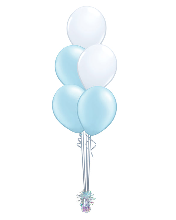 Light Blue Shade - Latex Balloon Bouquet - 5 Balloons