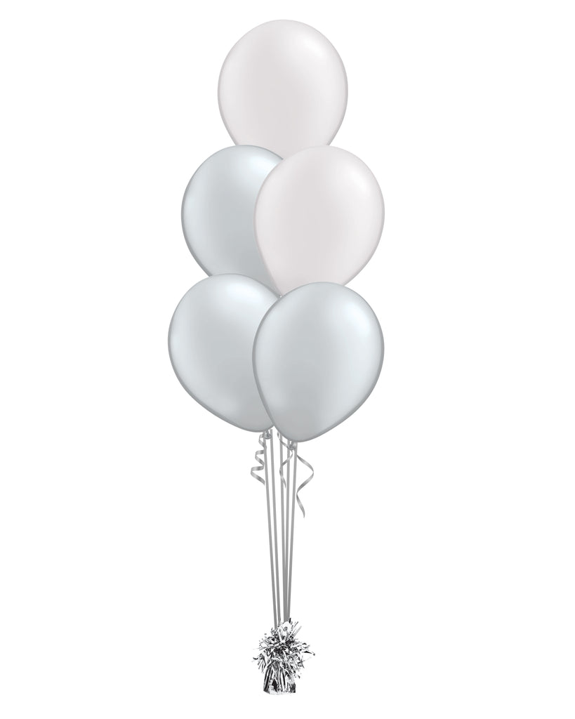 Silver & White Shade - Latex Balloon Bouquet - 5 Balloons