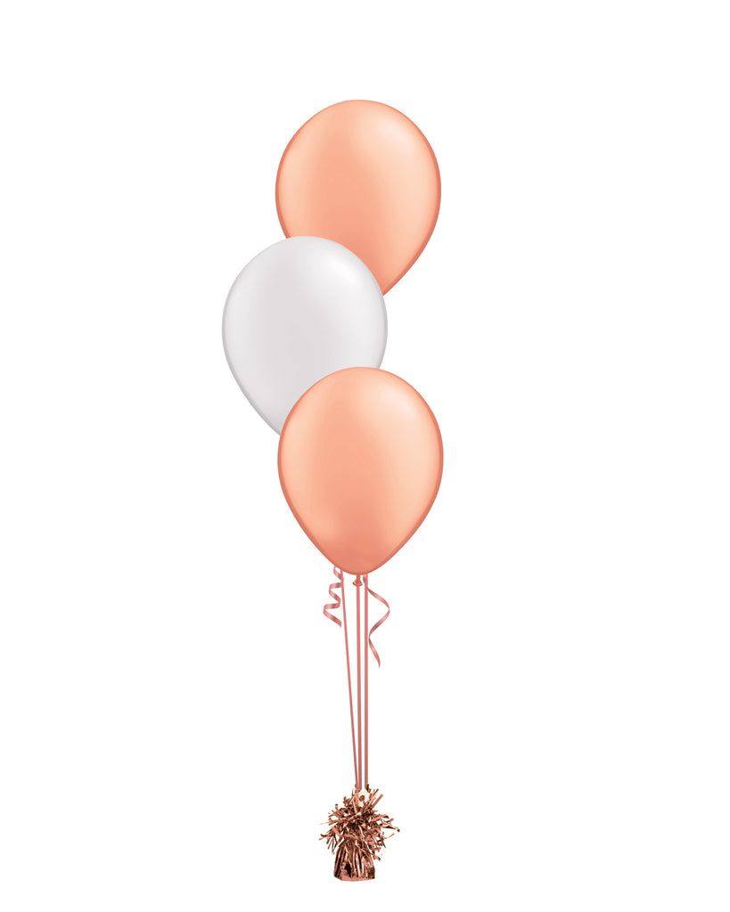 Rose Gold & White Shade - Latex Balloon Bouquet - 3 Balloons