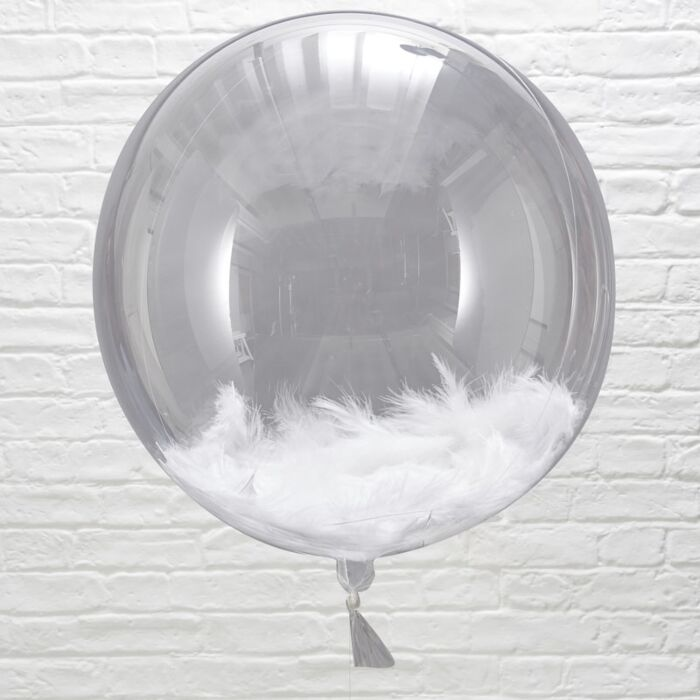 GIANT ORB WHITE FEATHER BALLOONS | HELIUM IS INCLUDED |