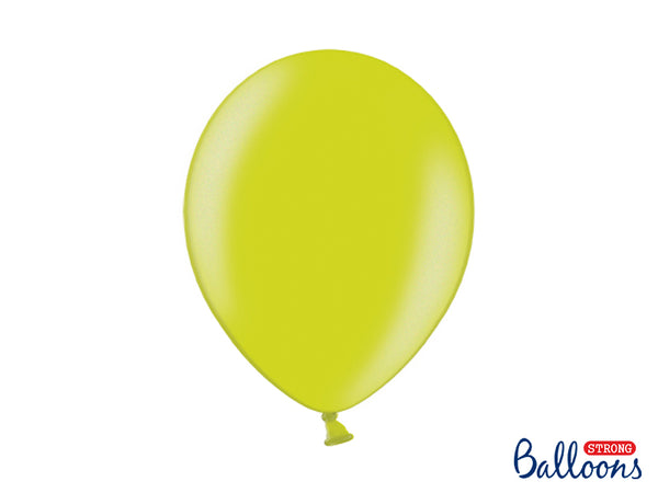 Metallic Lime Green Latex Balloons (30cm) - Pack Of 10