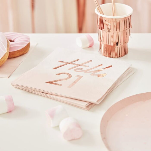 HELLO 21ST BIRTHDAY PARTY NAPKINS ROSE GOLD