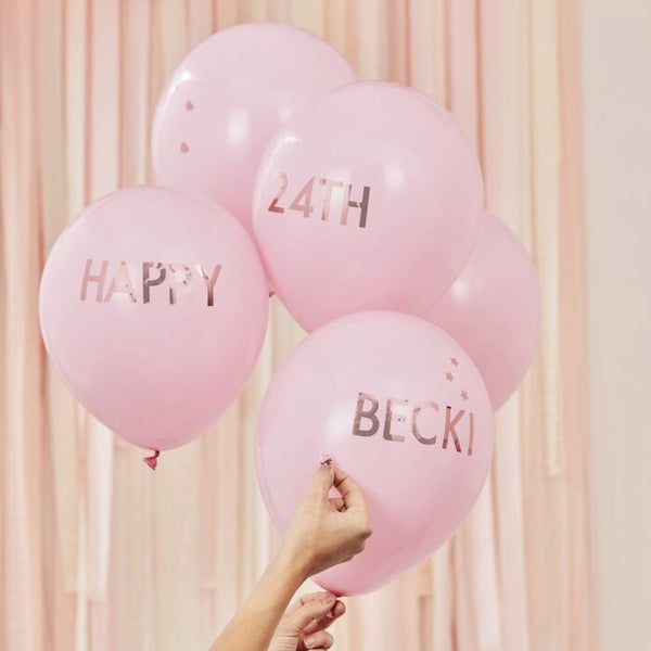 PINK AND ROSE GOLD PERSONALISED BALLOONS KIT