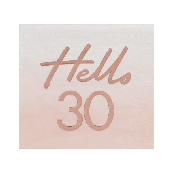 HELLO 30TH BIRTHDAY PARTY NAPKINS ROSE GOLD