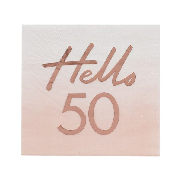 HELLO 50 BIRTHDAY PARTY NAPKINS ROSE GOLD