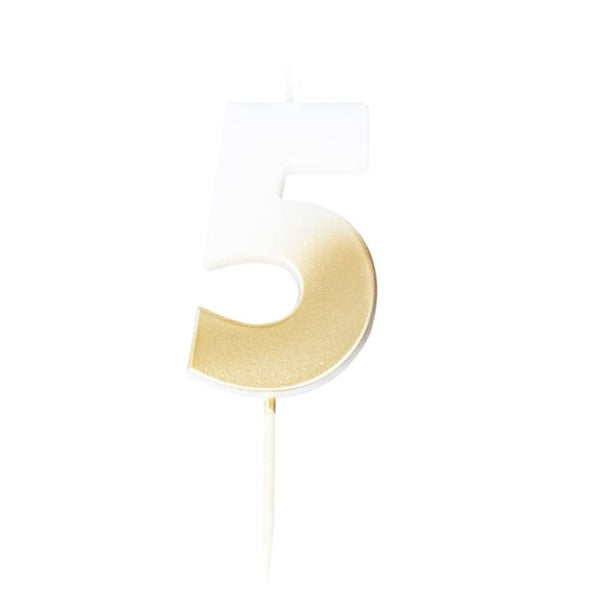 GOLD OMBRE 5 NUMBER BIRTHDAY CANDLE