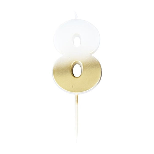 GOLD OMBRE 8 NUMBER BIRTHDAY CANDLE