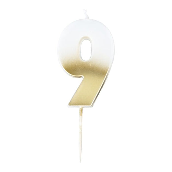 GOLD OMBRE 9 NUMBER BIRTHDAY CANDLE