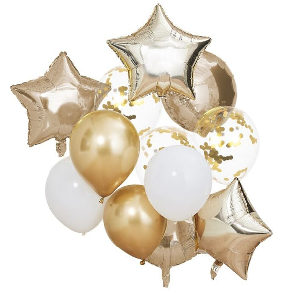 METALLIC GOLD BALLOONS BUNDLE