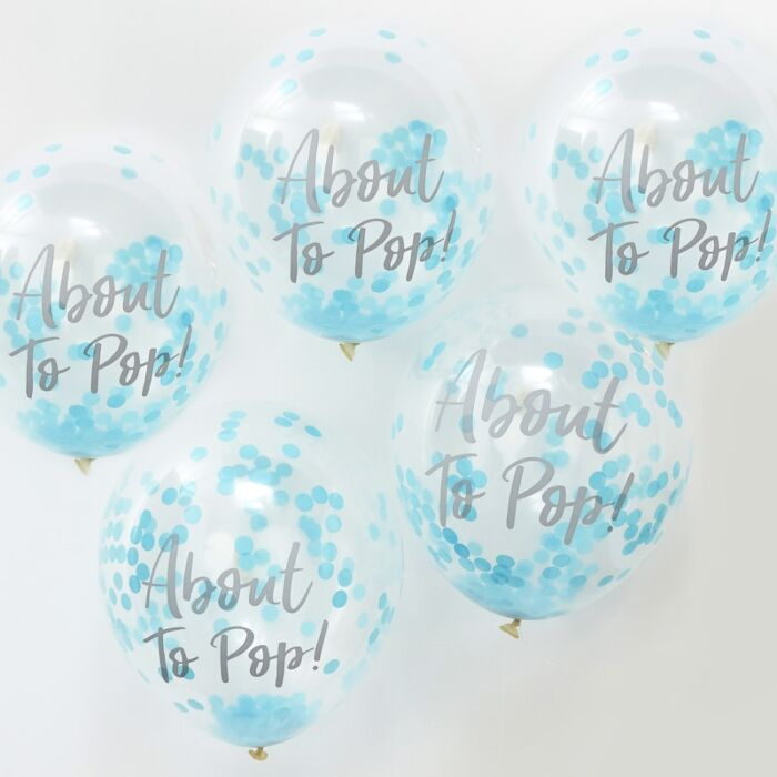 ABOUT TO POP! BLUE BABY SHOWER CONFETTI BALLOONS