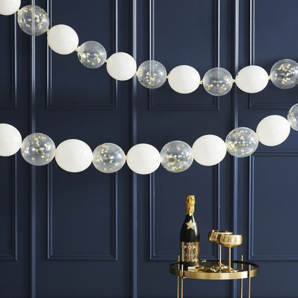 GOLD CONFETTI LINK BALLOON GARLAND HANGING DECORATION