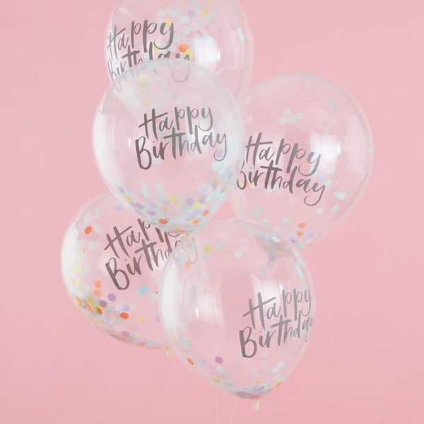 HAPPY BIRTHDAY PASTEL CONFETTI BALLOONS