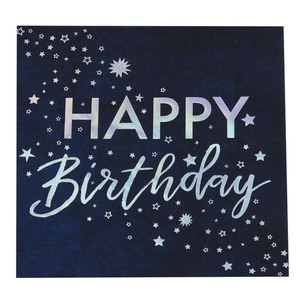 IRIDESCENT FOILED HAPPY BIRTHDAY PAPER NAPKINS