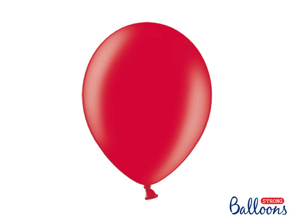 Metallic Poppy Red Latex Balloons (30cm) - Pack Of 1 (Single Balloon)