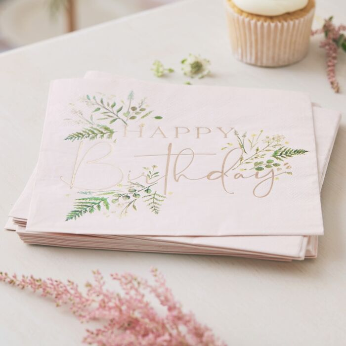FLORAL PINK HAPPY BIRTHDAY NAPKINS