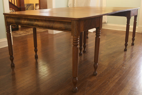 Double Leaf Tiger Mahogany Dining Table