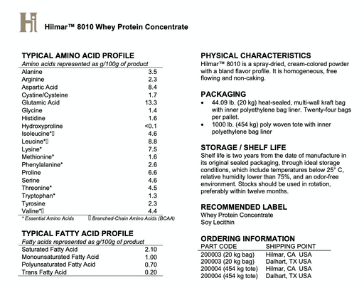 HILMAR Instantized Whey Protein Concentrate 80%