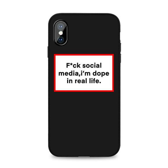 F*ck Social Media Black iPhone Case - AntisocialCase