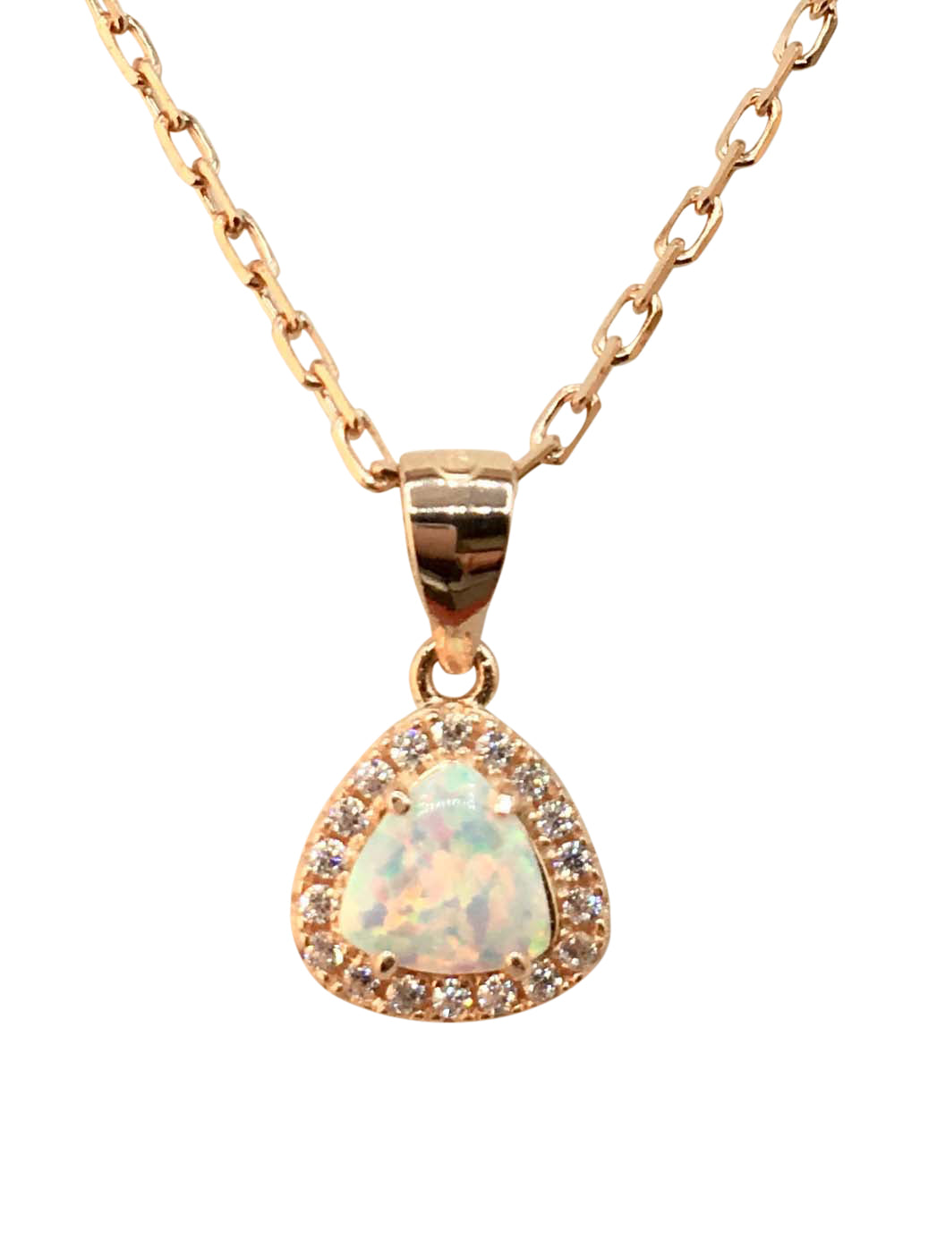 Rose Gold on Silver Opal Pendant