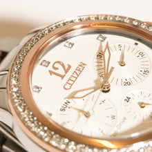 Load image into Gallery viewer, Citizen Eco-Drive Swarovski Multi Dial Ladies Two Tone Watch