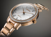 Load image into Gallery viewer, Citizen Silhouette Crystal Eco-Drive Ladies Rose Gold Tone Watch