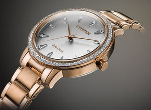 Citizen Silhouette Crystal Eco-Drive Ladies Rose Gold Tone Watch