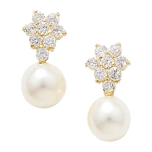 9ct. Gold pearl and Cubic Zirconia Earrings
