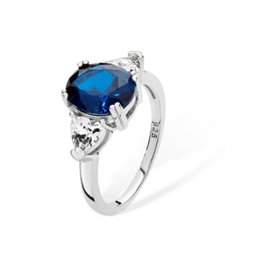 Sterling Silver Sapphire Cubic Zirconia Ring