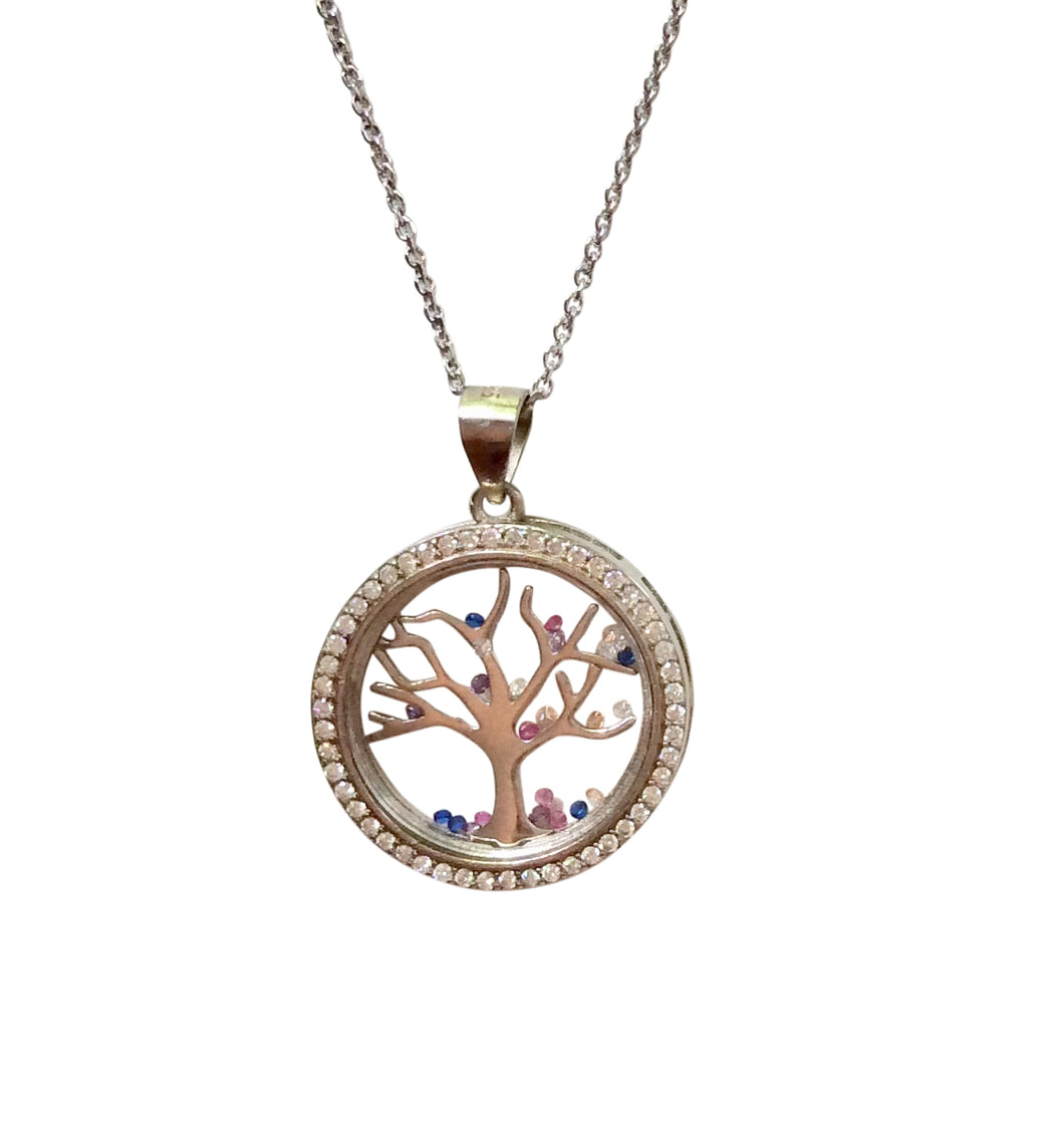 Sterling Silver Cristallo Di Milano tree of life pendant