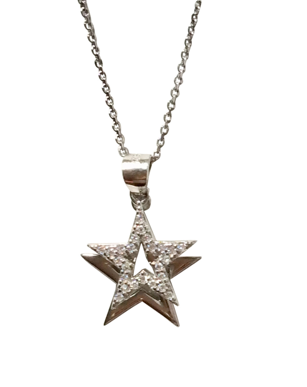 Sterling Silver Star double layered pendant on adjustable 18