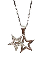 "Load image into Gallery viewer, Sterling Silver Star double layered pendant on adjustable 18"" chain"