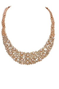 Cristallo di Milano Rose Gold Collar Necklace with pearls and Swarovski crystals
