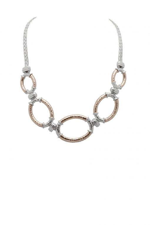 Cristallo di Milano Silver and Rose Gold Oval Necklace