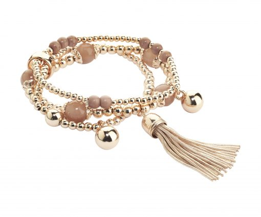 Cristallo di Milano Rose gold bead and tassle bracelet