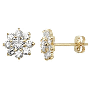 9ct Gold Flower CZ Stud Earrings
