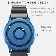 Load image into Gallery viewer, Creative Watch Rose Gold Black Sliver Magnetic Ball Metal Magnet Beads Watch Men's Circle Ring Rubber Sports Watch Male Watch