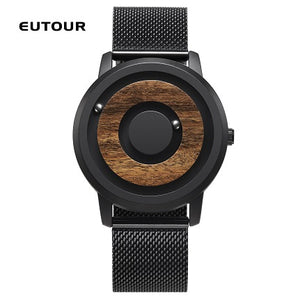 EUTOUR minimalist Novelty Wood Dial Scaleless Magnetic Watch Belt Natural Forest Fashion Men's Couple Watch