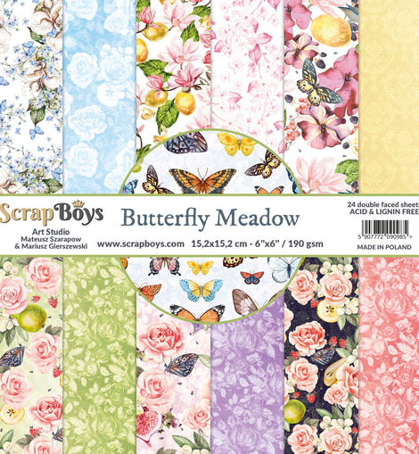 Butterfly Meadow Collection 6 x 6in Double Sided Paper - Scrap Boys