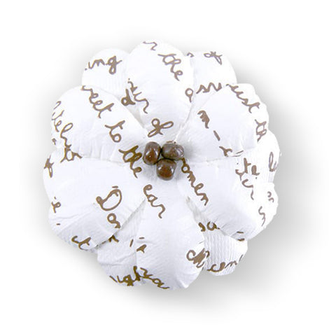 Beaded Flower With Script Print 10 pcs CO724301A
