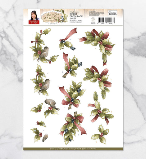 Couture Creations 3D Diecut Decoupage Set - Precious Marieke Nature of Christmas Holly Branches A4 Sheet