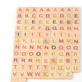 Coloured Alphabet Scrabble Tiles (Wooden)