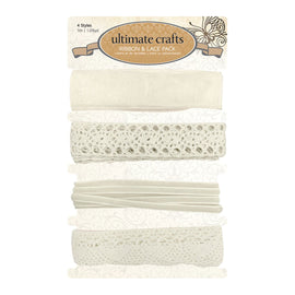 Ultimate Crafts Lace - OL - Ribbon & Lace Pack (4 styles - each 1m long)