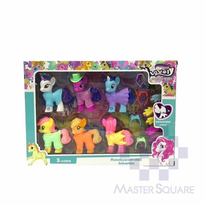 Horse Lovely Cartoon Series 6 In 1 W/ Accessories-Master Square