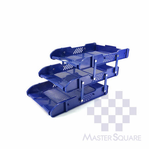 Document Tray Plastic Three Layers Blue-Master Square