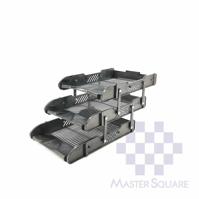 Document Tray Plastic Three Layers Black-Master Square