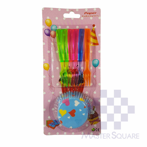 Cupcake And Cake Fork Set Of 6 Blue Hearts-Master Square
