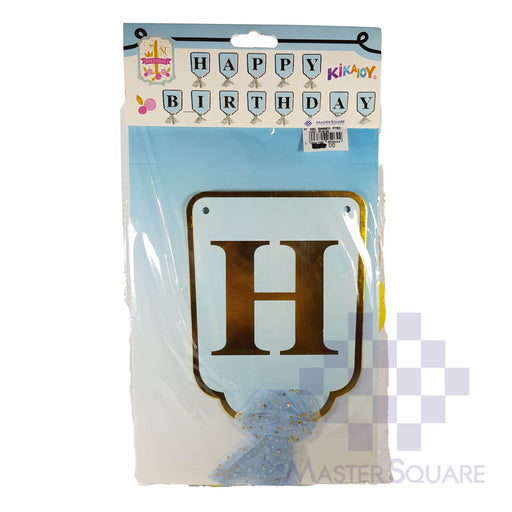 Hbd Banner Metallic Letters With Tulle Blue-Master Square