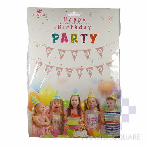 Hbd Banner Flaglets Pink With Silver Polka-Master Square