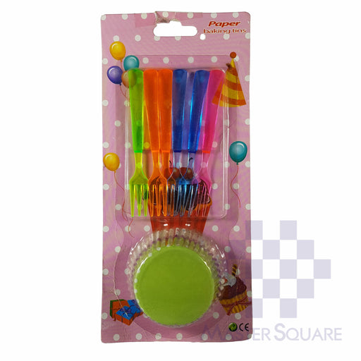 Cupcake And Cake Fork Set Of 6 Green Polka-Master Square